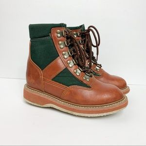 Orvis Tan Leather Green Canvas Wading Boots